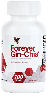 Spicy fresh-tasting tablets golden chia and ginseng, Gin-Chia® 100 tabs